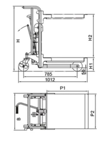 DOSTAWA GRATIS! 00546102 Wózek podnośnikowy z platformą (udźwig: 400 kg, wymiary platformy: 650x576 mm, wysokość podnoszenia min/max: 85-1500 mm)