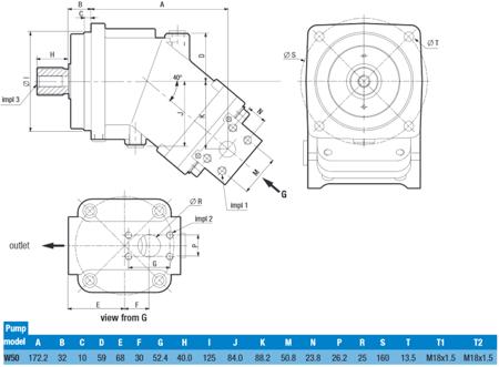 DOSTAWA GRATIS! 01539158 Pompa hydrauliczna tłoczkowa o stałej wydajności Hydro Leduc (obj geometryczna: 50,3cm³ prędkość obrotowa: 2000min-1/obr/min)