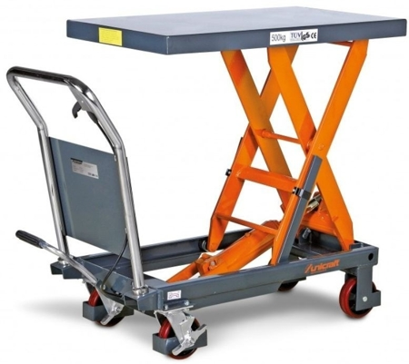 DOSTAWA GRATIS! 32240149 Stół nożycowy z podnośnikiem hydraulicznym Unicraft (udźwig: 500 kg, wymiary platformy: 855x500 mm, wysokość podnoszenia min/max: 340-900 mm)