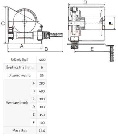 DOSTAWA GRATIS! 33915043 Wciągarka linowa ERW 1 (udźwig 1000 kg)