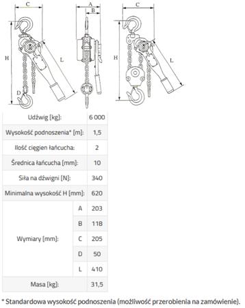 DOSTAWA GRATIS! 33917046 Wciągnik łańcuchowy, rukcug GKS 6,0 (udźwig: 6000 kg, wysokość podnoszenia: 3 m)