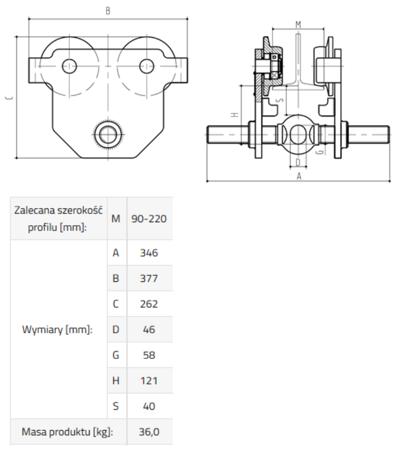 DOSTAWA GRATIS! 33917065 Wózek do podwieszania i przesuwania wciągników po dwuteowniku POT 5 (udźwig: 5 T, szerokość profilu: 90-220 mm)