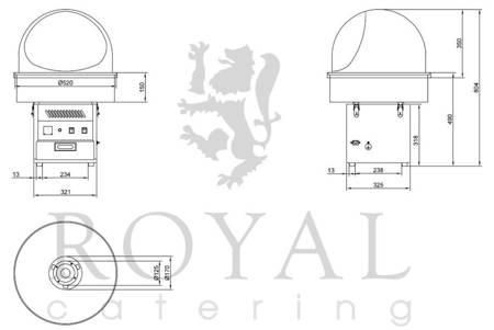 DOSTAWA GRATIS! 45643429 Maszyna do waty cukrowej z pokrywą Royal Catering (moc: 1,2kW, rozmiar garnka: 52cm)