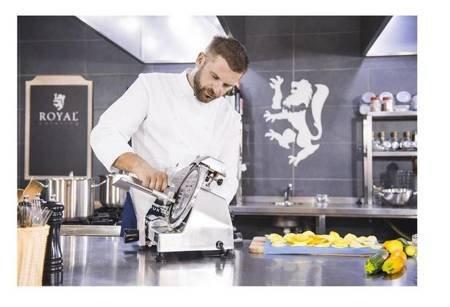 DOSTAWA GRATIS! 45643461 Krajalnica elektryczna do wędlin, mięsa i serów Royal Catering (moc: 120W, średnica noża: 220mm, grubość cięcia: 0-12mm)