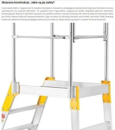DOSTAWA GRATIS! 99674605 Drabina magazynowa - mostek jednostronny Aloss (wysokość robocza: 3,71m)