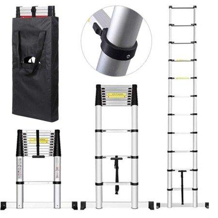 DOSTAWA GRATIS! 99674990 Drabina aluminiowa teleskopowa przystawna + torba (wysokość robocza: 5,7m)