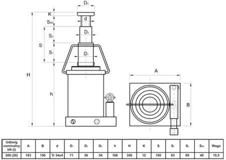Podnośnik hydrauliczny teleskopowy - niski (wysokość podnoszenia min/max: 160/350mm, udźwig: 20T) 6276342