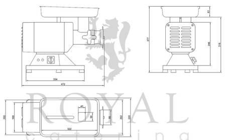 Wilk do mięsa Royal Catering (moc: 850W, wydajność przybliżona: 120-200kg/h) 45643466